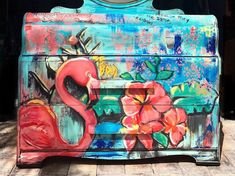 Florida meets NY Grafitti Waterfall Dresser / Chest of Drawers Furniture by Vintagetidedecor on Etsy Waterfall Dresser, Hand Painted Furniture, Colorful Furniture, Furniture Inspiration, Chest Of Drawers, Paint Colors, Stencils, Street Art, Art Pieces