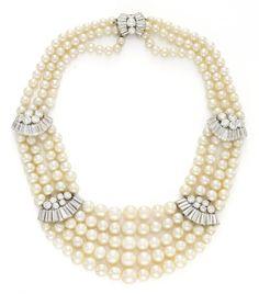 Bulgari. A Multi-Strand Natural Pearl and Diamond Necklace, circa 1950, by Bulgari.