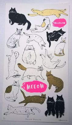 Roar Bonjour handmade screen print by charlottefarmer1 on Etsy
