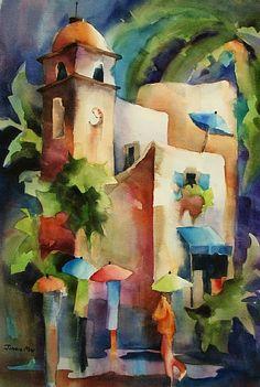 "Rainy Day Capri by Jinnie May Watercolor ~ 22"" x 15"""
