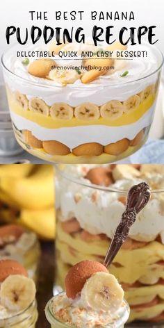 Banana Pudding Desserts, Homemade Banana Pudding, Banana Dessert Recipes, Easy Desserts, Delicious Desserts, Pudding Cake, Trifle Desserts, Layered Pudding Desserts, Classic Banana Pudding Recipe