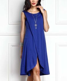 Another great find on #zulily! Blue Faux Wrap Dress #zulilyfinds