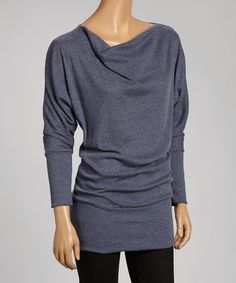 Another great find on #zulily! Blue Ribbed Dolman Tunic by Casalee #zulilyfinds