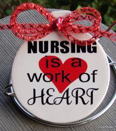 Nursing is a work of heart ceramic ornament by VINYLandBOWS on Etsy