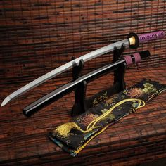 Cool Swords, Brass Fittings, Katana, Wooden Handles, Solid Black, Style, Swag