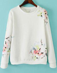 Sweatshirt Langarm mit Blumenmuster, weiß 22.70