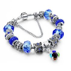 LongWay European Authentic Tibetan Silver Blue Crystal Charm Bracelet Original DIY Beads Jewelry