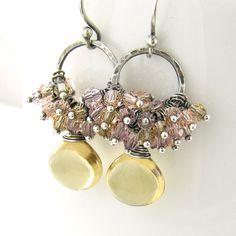 Citrine Earrings Gemstone Cluster Earrings Champagne Citrine Jewelry Sterling Silver Swarovski Cyrstal Handmade Fashion Jewelry on Etsy, 70,15€