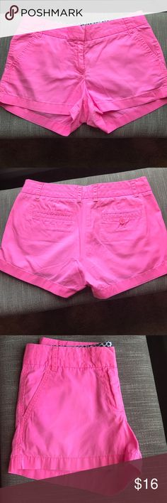 "J. Crew neon pink 3"" factory chino shorts PRODUCT DETAILS Cotton. Sits just above hip. 3"" inseam. Zip fly. Slant pockets, back welt pockets. Machine wash. Item 36234. J. Crew Shorts"