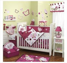 The bright butterflies of the Lambs & Ivy Raspberry Swirl 6 Piece Crib Bedding Set will give your baby a fun welcome home. Baby Girl Bedding Sets, Girls Bedroom Sets, Custom Baby Bedding, Baby Crib Bedding, Baby Bedroom, Baby Rooms, Crib Sets, Kids Rooms, Nursery Room Decor