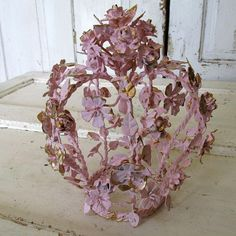 Pink toleware rose crown ornate shabby cottage by AnitaSperoDesign