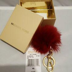 Michael Kors Faux Fur Key Charm Dark red furry pom pom key charm. Can be worn on keychain or purse. MICHAEL Michael Kors Other