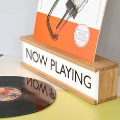 Now Playing vinyl holder and lightbox by James Design - Vinyl storage meets lamp with the Now Playing lightbox by James Design. You can customise the text - Vinyl Record Display, Vinyl Record Storage, Lp Storage, Diy Vinyl Storage, Record Decor, Vinyl Record Holder, Record Shelf, Chill Lounge, Record Stand