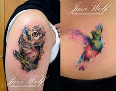 Owl and Quetzal  Tattooed by @javiwolfink