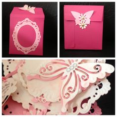 Envelop for the eazel card, made from A4 sheet, cut out a die like the one used in the card. The flower and butterfly on the back interlock. This card is for my mother in law, she will be 82 tomorrow.