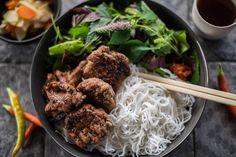 Bun Cha Pork Meatballs and Rice Noodles best street food ho chi minh