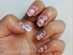 #nailart #flowers #waterdecals #roses