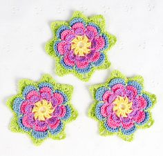 Set of 3 Lovely #Crocheted #Pink, #Violet, #Blue, #Yellow #Flower #Motif #Applique #handmade $10.00