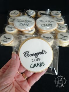 """50 cookies being included in gift packs for the graduates of 2019. Plus extra large """"Thank you"""" cookies for some helpers. www.facebook.com/cakesbyleannerhodes"""