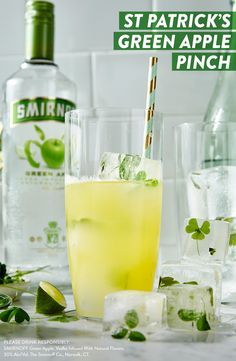 In a pinch for something unexpected this St. Patrick's Day? This refreshing Smirnoff Green Apple and Pineapple cocktail is sure to surprise all the lads and lasses at your party. #RECIPE: 1.5oz Smirnoff Green Apple, 3oz pineapple juice, and pineapple + lime garnish.