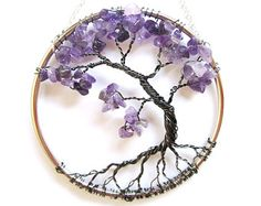 Amethyst Wire Tree of Life Wall Hanging, Purple Bonsai Sun Catcher - Small Wire Wrapped Jewelry, Wire Jewelry, Jewelery, Lilac Tree, Wire Tree Sculpture, Tree Of Life Jewelry, Wire Trees, Tree Of Life Pendant, Wire Crafts