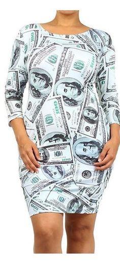 Multi $100 Currency Print 3/4 Sleeve Plus Size Bodycon Dress U.S.A