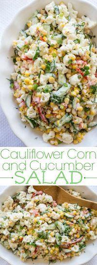 Cauliflower, Corn and Cucumber Salad Recipe. Ingredients Ingredients for Cauliflower Corn and Cucumber Salad: 2 cups caul. Cauliflower Recipes, Veggie Recipes, Vegetarian Recipes, Cooking Recipes, Healthy Recipes, Fast Recipes, Juice Recipes, Recipes Dinner, Cucumber Recipes