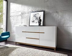 Germania Riva Contemporary Sideboard in High Gloss White and Oak