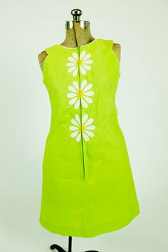 Vintage 1960s Bright Acid Green Embroidered by thriftingcoups