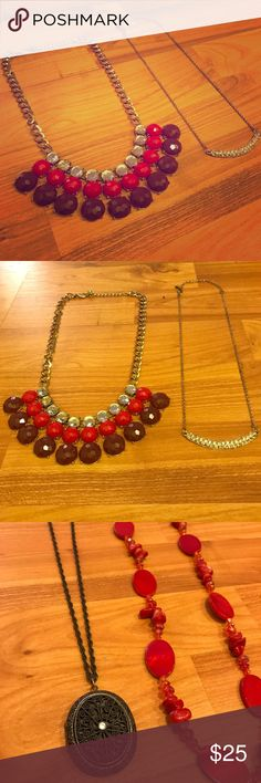 💠4 Piece Statement Necklace Lot Selling 4 necklaces as a lot: 1 gold necklace with crystals on the U-shaped accent, 1 gold statement necklace with burgundy, red, and crystal accents, 1 long red beaded necklace, and 1 long dark silver pendant necklace! :) Jewelry Necklaces