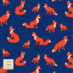 """PRESALE Fox Family on Cobalt Blue Cotton Jersey Blend Knit Fabric - Different vintage style foxes in cherry tomato, black, eggnog cream and cobalt blue color background on our signature cotton jersey blend knit. Fabric is light to medium weight with a nice stretch and fluid drape. Largest fox measures 2 1/2"""" across. Made in Los Angeles! :: $6.50"""