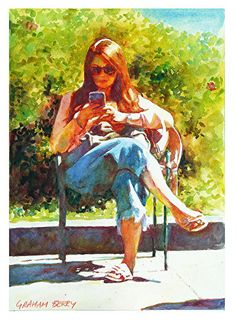 Texting in Union Square, San Francisco by Graham Berry Watercolor ~ x Watercolor Artists, Watercolor Portraits, Abstract Watercolor, Watercolor Flowers, Painting People, Figure Painting, Small Canvas Paintings, Art Inspiration Drawing, Art Pictures