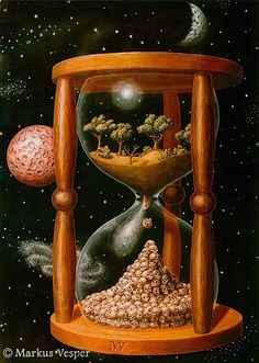 """""""Transience"""". Converting nature to dollars is represented by an hourglass where a dying and collapsing environment, which is fast running out of time, ends in the extinction of man (human skulls piling up at the bottom of the hourglass)."""