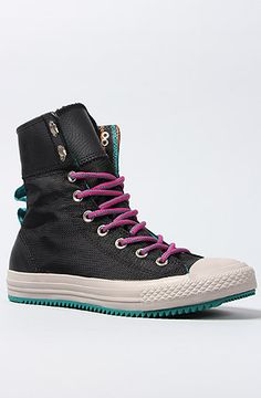 The Chuck Taylor All Star Elsie Rolldown Sneaker Boot in Black and Multi String by Converse