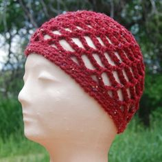 Brick Red Open-Weave #Skullcap by MontanaHatter on Etsy