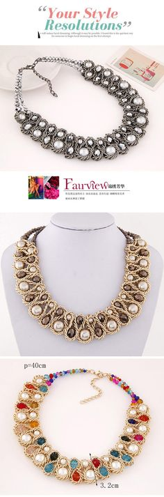 Luxurious Black & White Beads Decorated Weave Design,Bib Necklaces