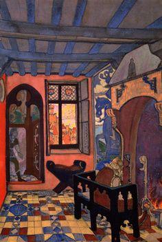 "Nicholas Roerich ""King's Chamber"" Décor for Maeterlinck's drama ""Princess Maleine"" 1913"
