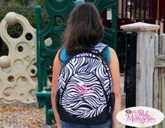 Monogrammed Zebra Backpack