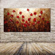 Pintura em tela quadro tulipas vermelhas