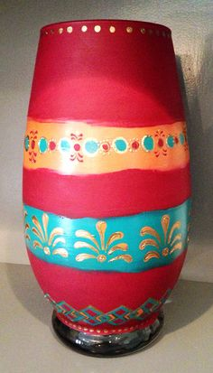 Hand-painted Glass Tribal Vase by SarahKKreations on Etsy