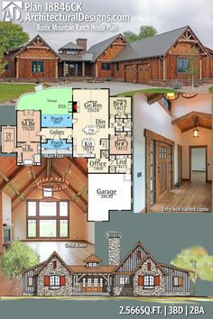 Plan Rustic Mountain Ranch House Plan - Architectural Designs Rustic Mountain House Plan Change garage to living space - Rustic House Plans, Dream House Plans, Cabin Plans, House Floor Plans, Log Cabin Floor Plans, Mountain Ranch House Plans, Mountain Houses, The Plan, How To Plan