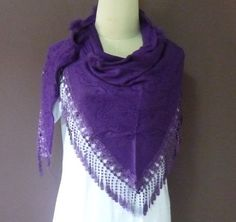 Triangle scarf purple violet shawl 57 x 27 inch lace by TuesdayTee