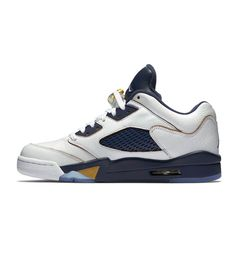 Nike Air Jordan Retro 5 Low GS White/ Metallic Gold / Navy - Nike Air Jordan