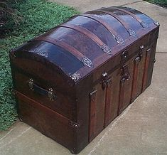 Image detail for -Antique Trunks Flat Top or Dome Top with a Shadow Box and Steamer ...