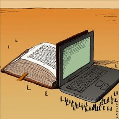 bibliolectors:  Digital Book - Book on paper / Libro digital - Libro en papel (ilustración de Janusz Kapusta)