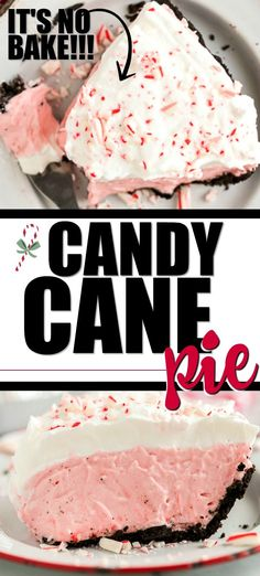 This no-bake candy cane pie is Christmas in a pie plate! An Oreo cookie crust is filled with whipped cream, cream cheese, peppermints, and powdered sugar. Candy Cane Pie, Candy Cane Cookies, Candy Canes, Xmas Cookies, Recipes With Whipping Cream, Cream Recipes, Christmas Desserts, Christmas Baking, Christmas Goodies