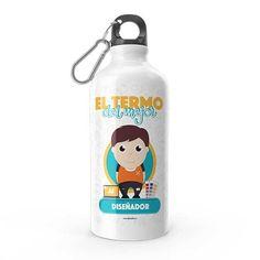 Termo - El termo del mejor diseñador, encuentra este producto en nuestra tienda online y personalízalo con un nombre. Water Bottle, Drinks, Funny, Dietitian, Carton Box, Store, Crates, Drinking, Beverages