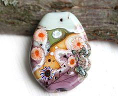 Lampwork glass bead  Autumn Landscapes  Purple Olive by MayaHoney, $31.00