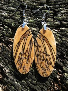 $39.95 Spalted Tamarind Earrings  Wood Earrings Made From Resin Infused by forestlifecreations