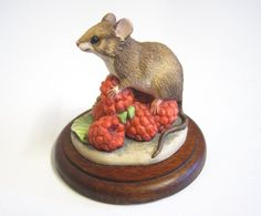 Vintage Old Border Fine Arts Figurine Mouse & Raspberries, Hand Made in Scotland, 1992 by TheWhistlingMan on Etsy